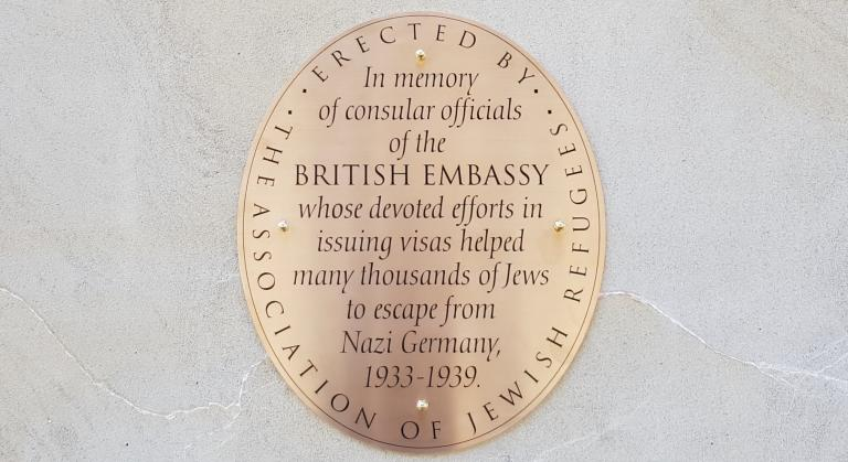 AJR commemorative plaque on the British Embassy in Berlin