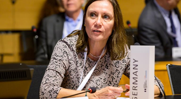 IHRA Chair Ambassador Michaela Küchler speaking at a conference