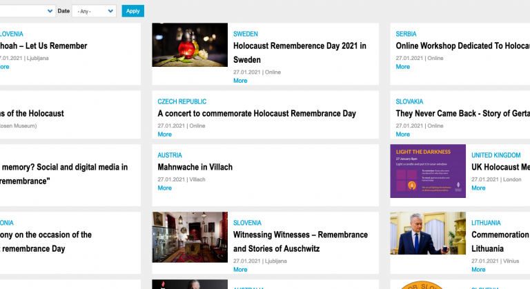 Screenshot of the IHRA's International Holocaust Remembrance Day database